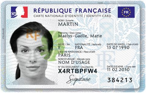 Carte nationale d'identité - Source : Ministère de l'Intérieur